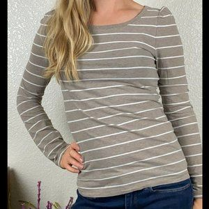 Gap Stretch Taupe Long Sleeve Striped Shirt